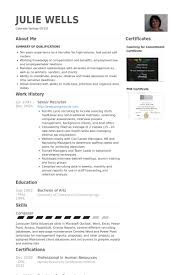 senior recruiter resume samples sample hr recruiter cover letter