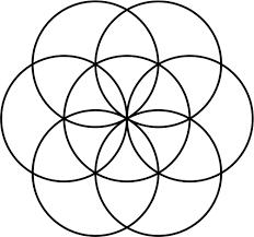 Geometric art project seven circle flower design