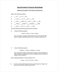stoichiometry balancing equations worksheet