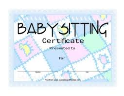 babysitting certificates babysitting award certificate certificate templates teachers