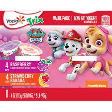 yoplait trix yogurt variety pack of raspberry and strawberry banana burst