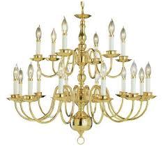 eighteen light polished brass up chandelier