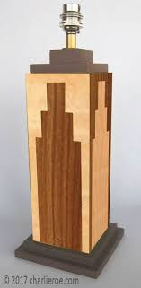 a pair of new art deco skyser style stepped table lamp base stands in marquetry wood