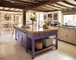 rustic kitchen island table. Butcherblock Top On A Purple Rustic Kitchen Island Table Set In The Middle Of French K
