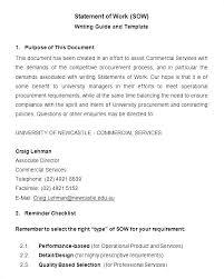 It Statement Of Work Statement Of Work Template Sample Sow Safe Work Method Statement