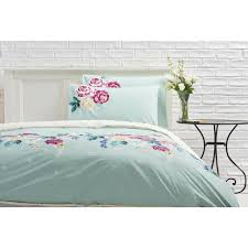 wilko duvet set double riviera fl duck egg blue