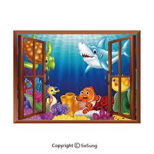Aquarium Mural Design Amazon Com Aquarium Removable Wall Sticker Wall Mural