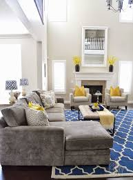 Wonderful : The Stylish blue grey yellow living room Modern with