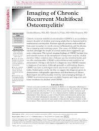 Imaging of Chronic Recurrent Multifocal Osteomyelitis
