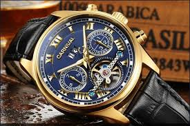luxury gilded watch men automatic self wind sapphire glass tourbillon black dial brown leather band watches