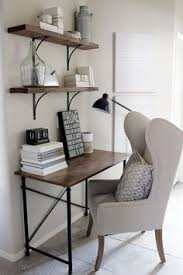 desk for small office. Home Decorating Ideas - Small Office Desk In Rustic Industrial Glam Style. Wingback Chair, Simple Wood And Metal Frame Desk, Shelves With Black For I
