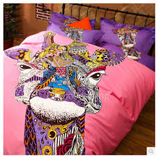 art deco bedroom interior with funky artsy animal print comforter and pink purple teen bedding sets