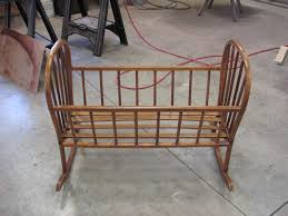 Antique Baby Cribs Furniture Antique Brown Stained Wooden Baby Cradle With Vintage
