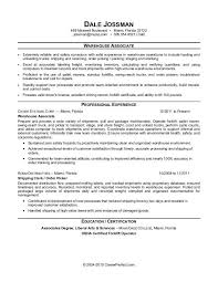 Warehouse Resume Format
