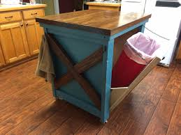 Hidden Kitchen Storage Rustic Style Blue Island With Wooden Top Featuring Hidden