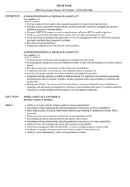 Research Assistant Resume Sample Senior Professional Research Assistant Resume Samples Velvet Jobs 47