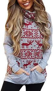 JMETRIE Womens Warm <b>Christmas Snowflake Elk Print</b> High Neck ...