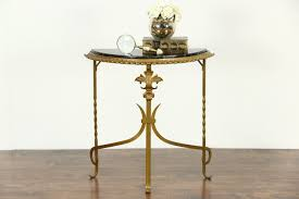 black sofa table. Black Marble And Gilt Wrought Iron 1920 Antique Demilune Console Table Sofa