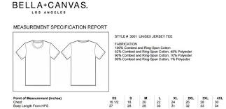 Bella Canvas Size Chart Unisex Bella Canvas 3001c Adult Short Sleeve Crewneck T Shirt
