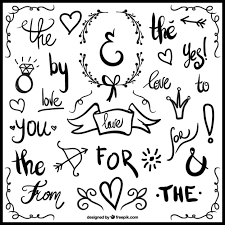 words free download wedding ornaments and hand written words vector free download