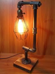 vintage retro adjule iron pipe desk table lamp light uk plug unbranded