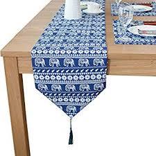 Amazon Com 13 X 87 Inch Navy Blue Table Runner Mandala