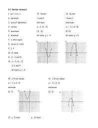 Worksheets Graphing Quadratics Worksheet review solving quadratics by graphing