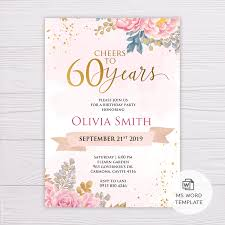 Word Template For Birthday Invitation Blush Gold Watercolor Flowers 60th Birthday Invitation Template