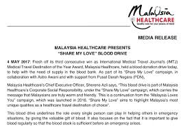 "Malaysia Healthcare Presents ""Share My Love"" Blood Drive Malaysia Delectable Message For My Healthcare And Love"
