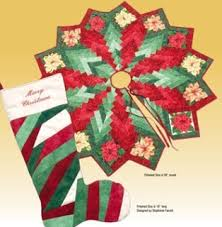 Quilt Inspiration: Free pattern day! Christmas Tree skirts & Christmas Botanics tree skirt and stocking, free pattern at Blank Quilting  (download the cover and instructions) Adamdwight.com