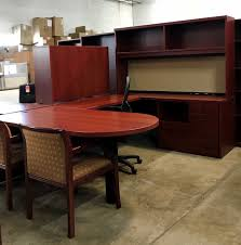 u shaped cherry wood desk image