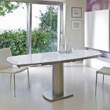 Glas Esstisch Mit Säulengestell In Weiß Nickelfarben Pease