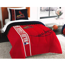 this bedding set which includes comforter and pillow sham would be a great addition to a st louis cardinals themed room