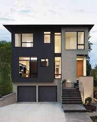 adorablle dark and soft grey modern house paint exterior with grey garage door that can be decor with minimalist stairs in front can add the modern touch of