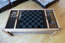 retro antique vintage gaming glass top coffee table chess board backgammon dominos