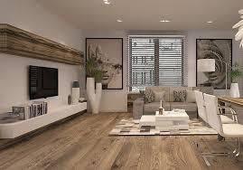 salon moderne avec parquet tapis mosaïque meuble tv bas en blanc bois et écran plat mural