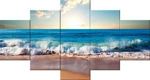 5 piece sandy beach modern canvas art wall decor landscape canvas wall art with