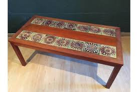 retro vintage mid century danish wooden tiled coffee table photo 1