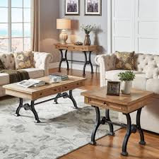 Lloyd Wood and Metal Trestle Base Accent Tables by iNSPIRE Q Artisan  (2-Piece Set: End Table & Coffee Table), Black
