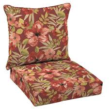 hampton bay 24 x 24 outdoor lounge chair cushion in standard chili tropical