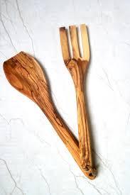 olivewood salad spoon fork set