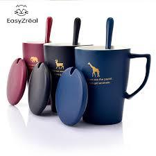office mug. EasyZreal 400ml Creative Ceramic Milk Cartoon Animal Mug Tea Office Coffee Mugs Lid Spoon Gift Cup 7