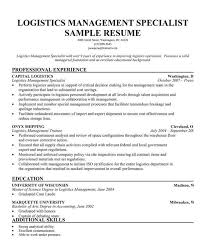 logistics management specialist resume logistics management