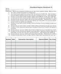 Checkbook Register Worksheet Form Excel 2010 Check Template Sample