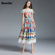 Designer Long Midi Dresses Us 27 87 40 Off Runway Dresses 2019 High Quality Designer Women Summer Bohemian Floral Printed Lace Patchwork Pleated Midi Dress Vestidos In Dresses