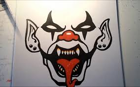 drawings of scary clowns drawn clown skull pencil and in color evil clown jpg 1368x855