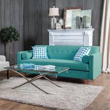furniture of america idalia modern midcentury turquoise blue sofa