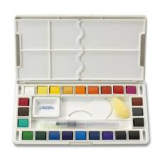 Amazon.com: Jerry Q Art 24 Assorted Water Colors Travel Pocket Set- Free  Refillable Water Brush With Sponge - Easy to Blend Colors - Built in  Palette ...