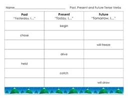Verb Chart Present Past Past Participle Past Present Future Tense Verb Chart Fill In With Key