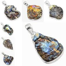 details about february natural brown boulder opal carving silver pendant jewelry 1627c